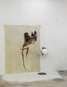 Disegno doppio, 2010. Disegno e scultura, vetroresina, pastelli a olio, cera, legno, nastro adesivo di carta