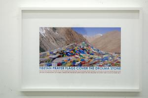 Tibetan Prayer Flags Cover the Drolma Stone, 2011, print