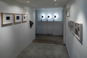 Installation View, Corridoio, Alessandro Sambini, Lucio Pozzi, Antoni Muntadas, Francesco Jodice