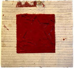Esodo, 1992. Cartone e cera lacca su tavola, cm 22,5 x 2