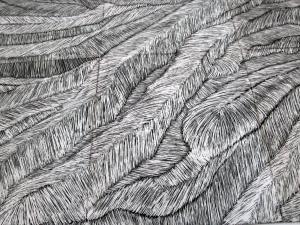 Il Progressivo. La Quarta Sinfonia di Brahms,2013, graffito su smalto, 370 x 440 cm, dettaglio