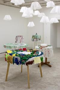 No Light. Tablecloths + You win some, you lose some, installation view