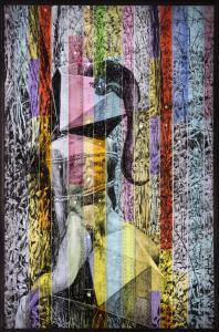 Prometheus - 61 x 92 cm -matita litografica su righelli lightbox - 2017