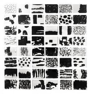 Maurizio Pellegrin, 48 Black Venetian Papers, 2020, tecnica mista su carta, 22,5 x 30 cm cadauno